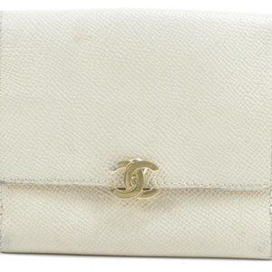 Chanel Caviar CC Clasp Compact Wallet Ivory Vanill
